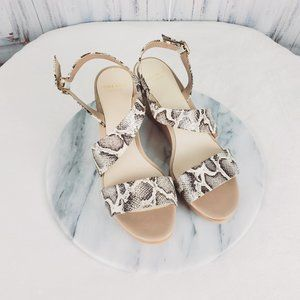 Cole Haan Grand os Snake Print Wedge Sling Sandals